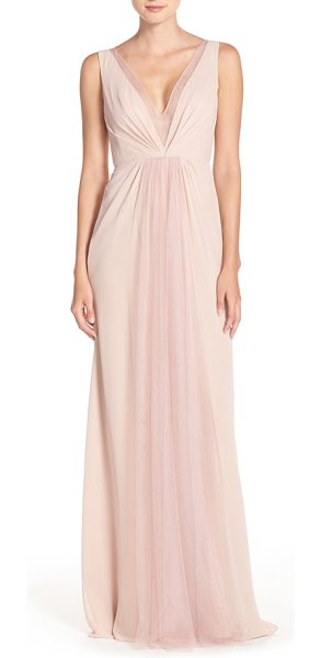 Monique Lhuillier Bridesmaids deep v-neck chiffon & tulle gown in shell - Sheer tulle at the decollete neckline and back bodice...