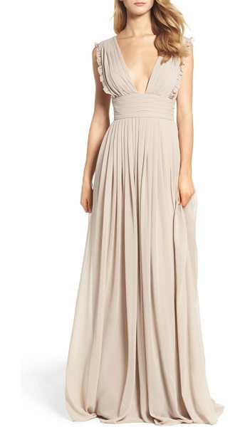 Monique Lhuillier Bridesmaids deep v-neck ruffle pleat chiffon gown in mink - Dainty ruffles soften the precise pleats shaping the...