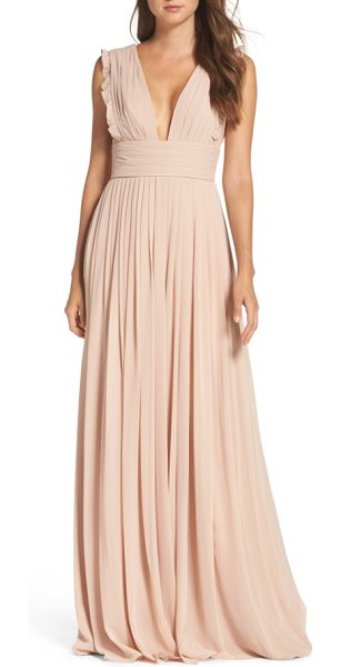 Monique Lhuillier Bridesmaids deep v-neck ruffle pleat chiffon gown in bamboo - Dainty ruffles soften the precise pleats shaping the...