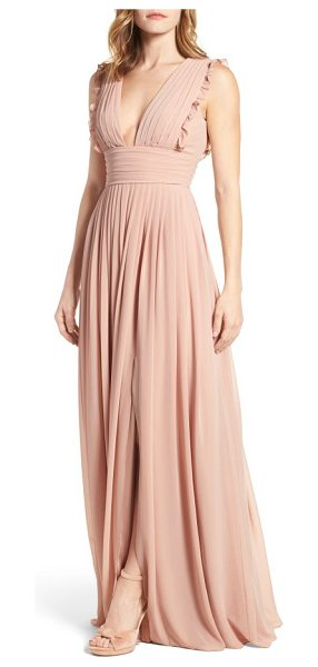 Monique Lhuillier Bridesmaids deep v-neck ruffle pleat chiffon gown in shell - Dainty ruffles soften the precise pleats shaping the...