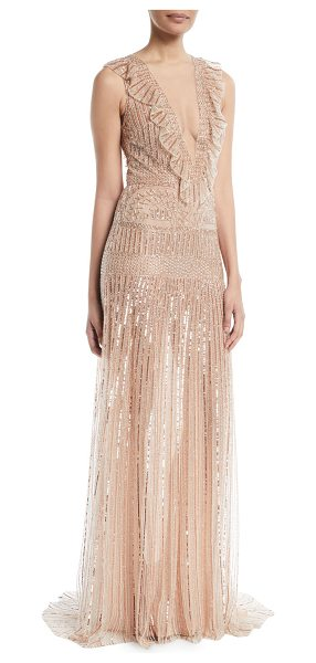 Monique Lhuillier Bridesmaids Deep-V Sleeveless Beaded-Striped Evening Gown w/ Ruffle Detail in rose gold - Monique Lhuillier beaded-embroidered evening gown with...
