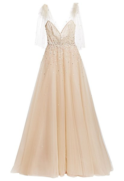 Monique Lhuillier Bridesmaids embellished a-line gown with bow detail in champagne