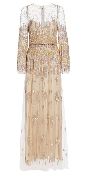 Monique Lhuillier Bridesmaids embellished illusion gown in metallic