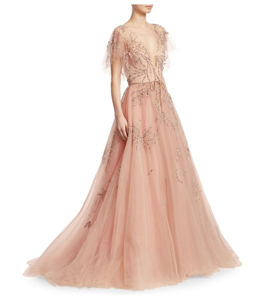 Monique Lhuillier Bridesmaids Embellished Tulle Gown | Nudevotion