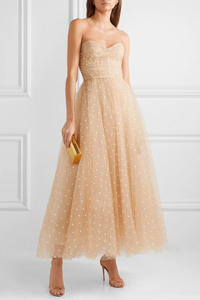 Monique Lhuillier Bridesmaids embroidered tulle gown in beige