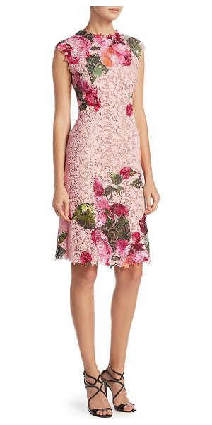 Monique Lhuillier Bridesmaids floral print dress in blush multi - Lace and floral print adorn this dress. Ruffled...