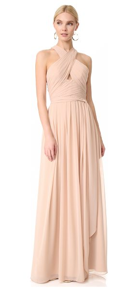 Monique Lhuillier Bridesmaids halter gown with cutout in bamboo - NOTE: Runs true to size. Pleats create a ripple effect...