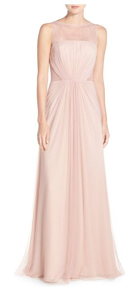 Monique Lhuillier Bridesmaids illusion inset tulle gown in shell