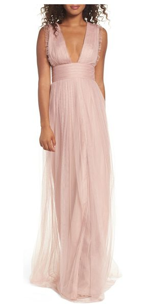 Monique Lhuillier Bridesmaids isla ruffle pleated tulle gown in shell - Dainty ruffles frill the sleeveless bodice of a dreamy...