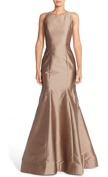 Monique Lhuillier Bridesmaids back cutout taffeta mermaid gown in cappuccino - A high bateau neckline and cutaway shoulders draw the...