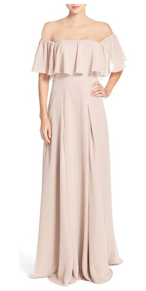Monique Lhuillier Bridesmaids off the shoulder chiffon gown in rose - A ruffled overlay adds curve-enhancing volume at the...