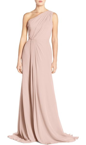 MONIQUE LHUILLIER BRIDESMAIDS one-shoulder chiffon gown - Lush chiffon swathes the bodice of a one-shoulder dress...