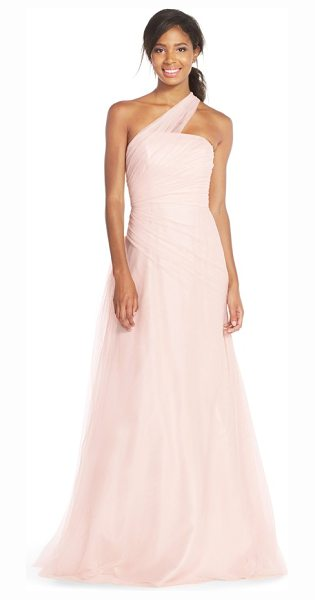 Monique Lhuillier Bridesmaids one-shoulder drape tulle gown in blush - An exquisite single-shoulder pleated-tulle overlay...