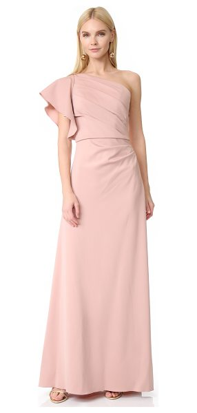 Monique Lhuillier Bridesmaids one shoulder gown in shell - NOTE: Runs true to size. A shirred bodice and single...