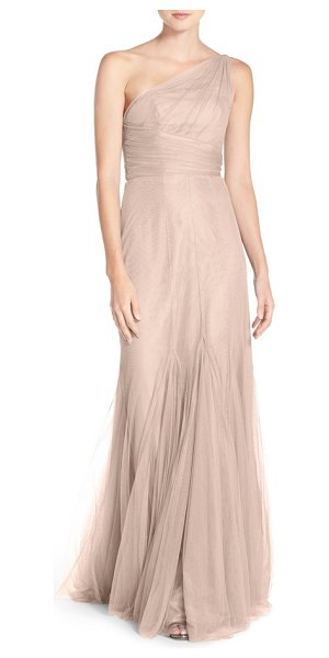 Monique Lhuillier Bridesmaids one-shoulder tulle trumpet gown in blush - A gorgeous tulle gown begins with a filmy swath over one...