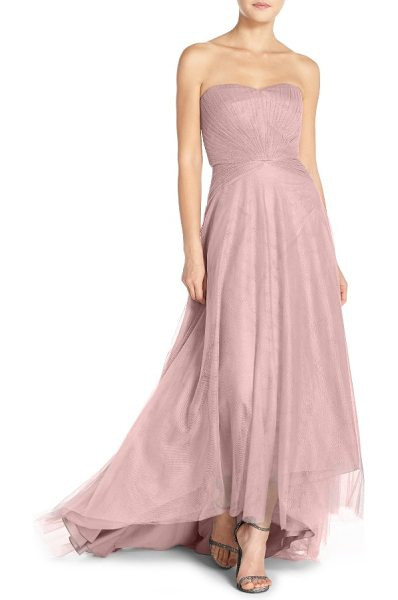 MONIQUE LHUILLIER BRIDESMAIDS pleat tulle strapless gown - Ultrafine, multidirectional pleats texture the fitted...