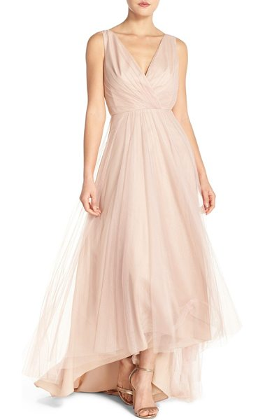 Monique Lhuillier Bridesmaids pleat tulle v-neck high/low gown in blush - Deft pleats wrap the deep V-neck bodice of a romantic...