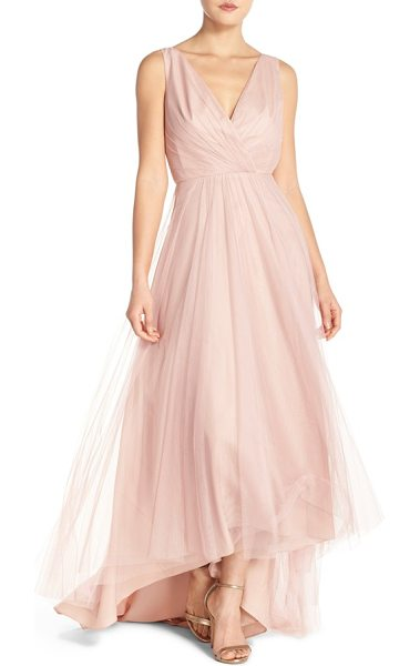 Monique Lhuillier Bridesmaids pleat tulle v-neck high/low gown in shell - Deft pleats wrap the deep V-neck bodice of a romantic...