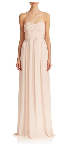 MONIQUE LHUILLIER BRIDESMAIDS pleated chiffon sweetheart gown - A sweetheart neckline enchants this chiffon gown,...