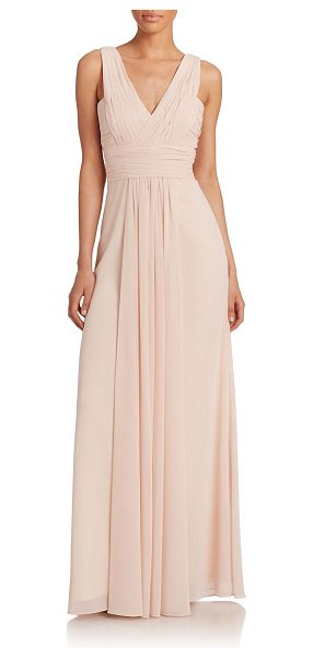 Monique Lhuillier Bridesmaids Pleated chiffon v-neck gown in blush - A pleated v-neck is the focal point of this dreamy...