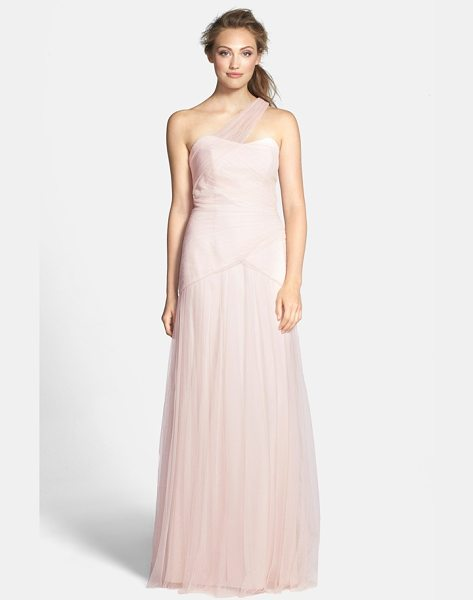 Monique Lhuillier Bridesmaids pleated one-shoulder tulle trumpet gown in blush - Sheer tulle wraps over one shoulder into pleated layers,...