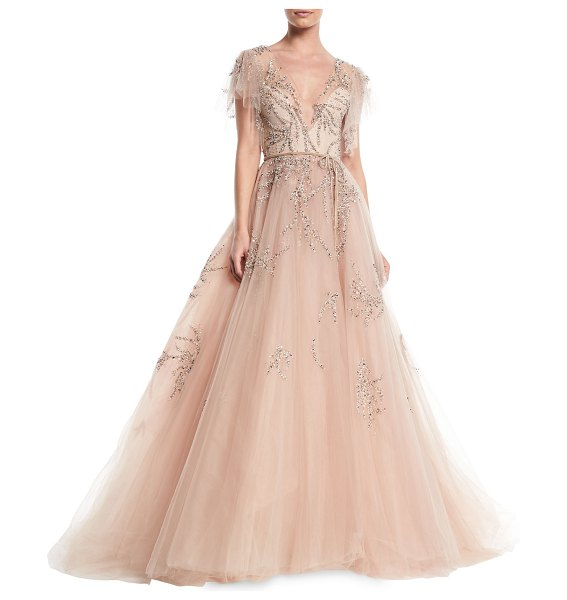 Monique Lhuillier Bridesmaids Plunging Cap-Sleeve Embellished Tulle Evening Ball Gown in light pink - Monique Lhuillier tulle evening ball gown with beaded...