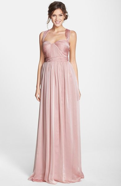 Monique Lhuillier Bridesmaids shirred chiffon gown in blush