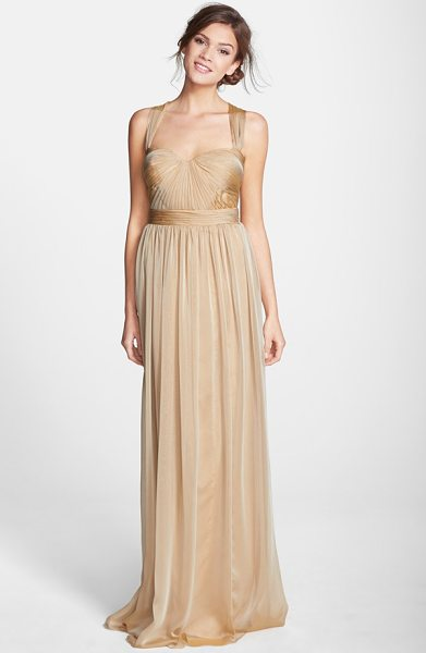 Monique Lhuillier Bridesmaids shirred chiffon gown in fawn - Meticulous shirring adds soft dimension to the sculpted...