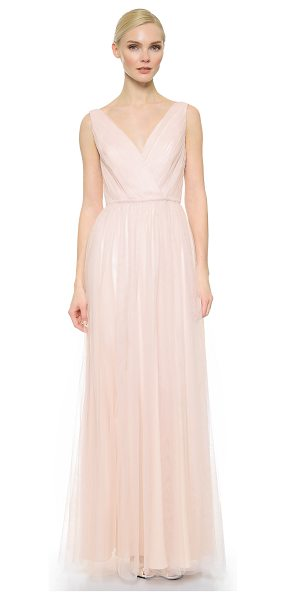 Monique Lhuillier Bridesmaids shirred multi tone v neck gown in blush/lavender - Filmy, sheer mesh layers compose this ethereal Monique...