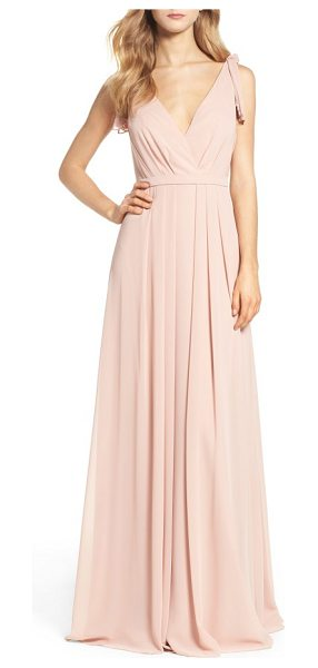 Monique Lhuillier Bridesmaids sleeveless deep v-neck chiffon gown in shell - Pleated details at the shoulders add fluttery, feminine...