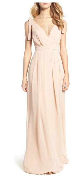 MONIQUE LHUILLIER BRIDESMAIDS sleeveless deep v-neck chiffon gown - Pleated details at the shoulders add fluttery, feminine...