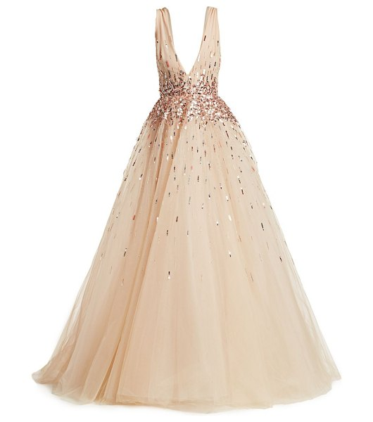Monique Lhuillier Bridesmaids sleeveless embroidered tulle ball gown in blush