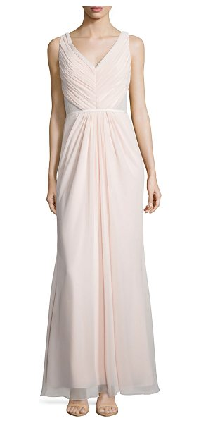 Monique Lhuillier Bridesmaids Sleeveless Ruched Bodice Lace Back Dress in blush - Monique Lhuillier Bridesmaids chiffon gown with lace...