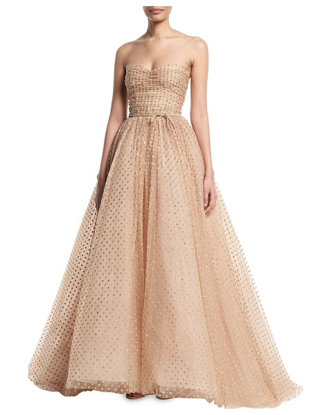 Monique Lhuillier Bridesmaids Strapless Glittered-Dot Ruched-Bodice Tulle Ball Gown in champagne - Monique Lhuillier glittered-dot tulle evening ball gown....
