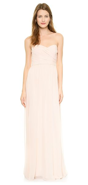 Monique Lhuillier Bridesmaids Strapless sweetheart chiffon gown in blush - An elegant gown by Monique Lhuillier Bridesmaids,...