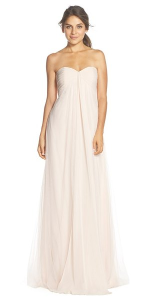 MONIQUE LHUILLIER BRIDESMAIDS strapless tulle & chiffon gown - Delicate pleats wrap the bandeau-style bodice and...