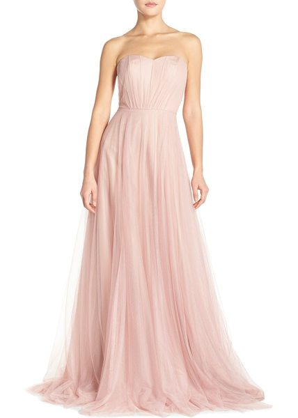 Monique Lhuillier Bridesmaids strapless tulle gown in shell - Delicate pleats fan out over the structured strapless...