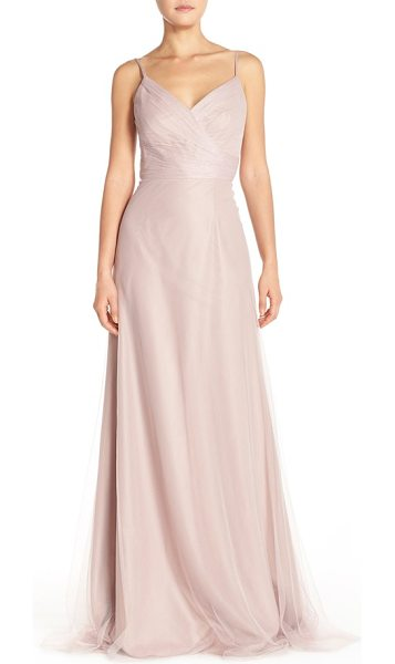 MONIQUE LHUILLIER BRIDESMAIDS surplice tulle gown - Delicate pleats wrap the surplice bodice of a...