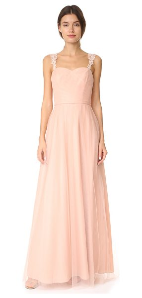 Monique Lhuillier Bridesmaids tulle gown in bellini - This romantic Monique Lhuillier Bridesmaids gown is...