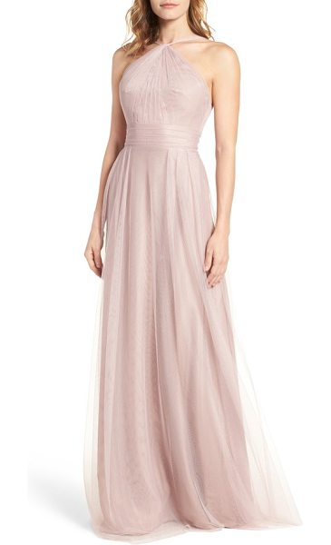 MONIQUE LHUILLIER BRIDESMAIDS tulle halter style gown - Gathered to a twisted halter-inspired neck, this...