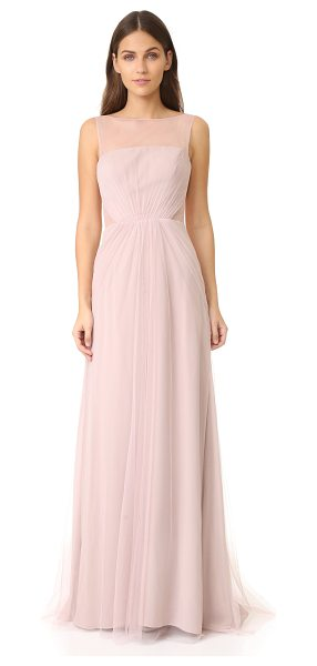 Monique Lhuillier Bridesmaids tulle illusions cut out gown in rose