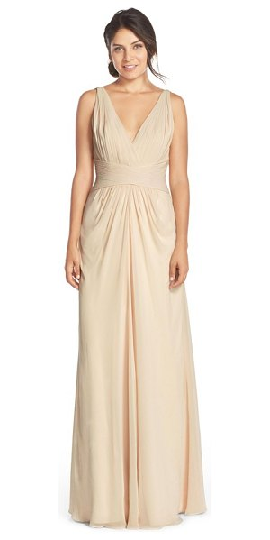 Monique Lhuillier Bridesmaids v-neck pleat chiffon gown in champagne - Dreamy soft chiffon is expertly pleated and shaped into...