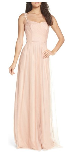 Monique Lhuillier Bridesmaids violetta tulle gown in bellini - Lustrous embroidered-lace straps cap off the...