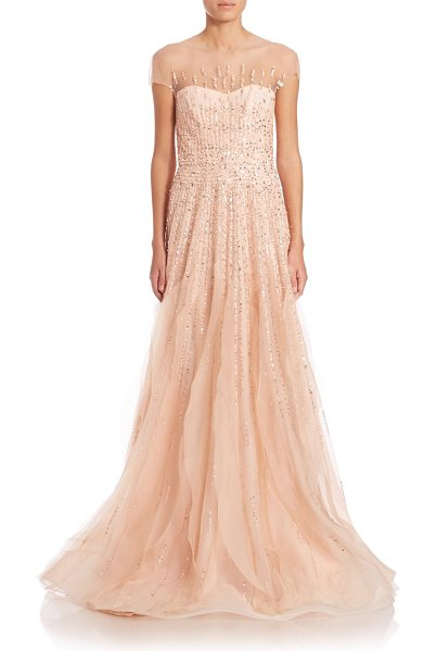 Monique Lhuillier Bridesmaids Cap-sleeve embroidered illusion gown in blush - Gorgeous, dramatic illusion gown flaunts enchanting...