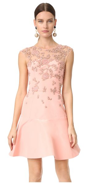 MONIQUE LHUILLIER BRIDESMAIDS cap sleeve illusion dress with embroidery - Rich faille composes this charming Monique Lhuillier...