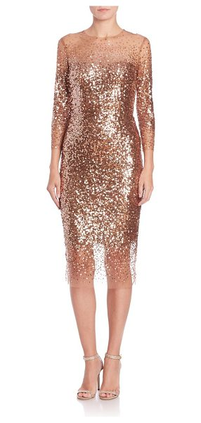 Monique Lhuillier Bridesmaids embellished three-quarter sleeve cocktail dress in brown - Glam cocktail dress with embellished tulle overlay....