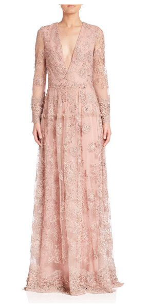 Monique Lhuillier Bridesmaids embroidered long-sleeve gown in blush - Delicate embroidery renders elegance to the gown....