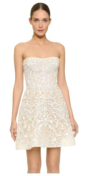 Monique Lhuillier Bridesmaids Embroidered strapless mini dress in silk white/nude