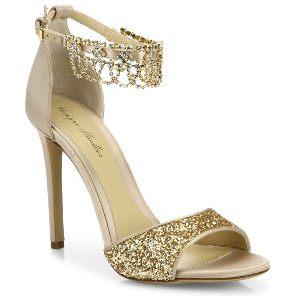 MONIQUE LHUILLIER BRIDESMAIDS evelyn jeweled suede & glitter sandals in gold - Glamorous glitter sandal with jeweled ankle strap....