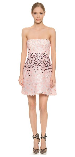 Monique Lhuillier Bridesmaids Floral paillette strapless dress in petal multi - Iridescent floral sequins and silk petals sprinkle this...